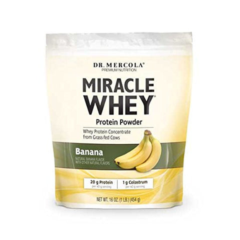 Dr. Mercola Miracle Whey Banana Protein Powder - Great Tasting Whey Protein Mix - Naturally Flavored And Colored - Certified GMO, Pesticide, and Chemical-Free - 1 lb Gusset Bag (454g)