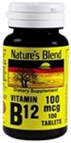 Natureu0027s Blend Vitamin B 12 100mcg Tablets 100 Count (2 Pack)
