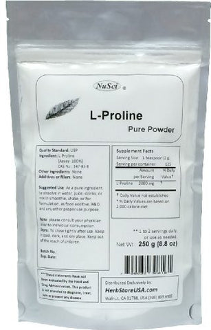 Pure L-Proline Powder a Collagen Component (250 grams (8.8 oz))