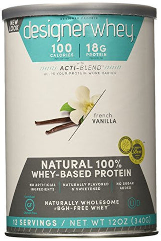 DESIGNER WHEY Protein 100% Premium Whey Protein Powder, French Vanilla, 12 Ounce, Pack of 2