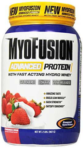 Gaspari Nutrition Myofusion Advanced Protein, Strawberries and Cream, 2 Pound