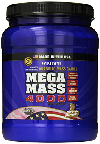 Weider MEGA MASS, Clean Anabolic Mass Gainer Formula, Delicious Strawberry, 1.98lbs