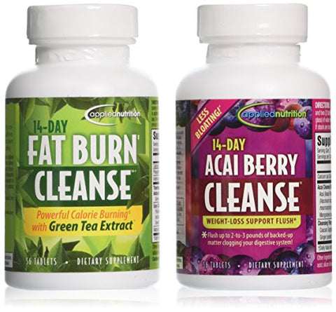 Applied Nutrition 14-Day Acai Berry Cleanse + 14-Day Fat Burn Cleanse, Value Pack 56 tablets per bottle