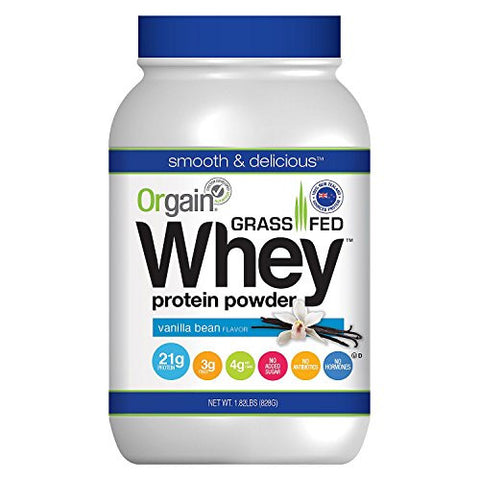 Orgain Grass Fed Whey Protein Powder, Vanilla Bean