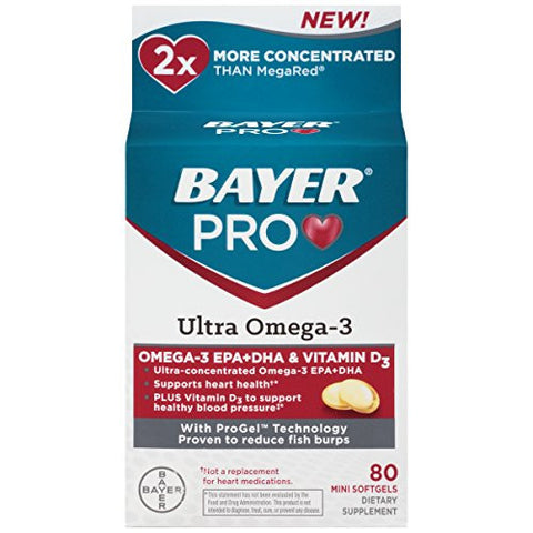 Bayer Pro Ultra Omega-3 Soft Gels, 80 Count