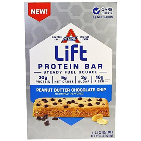 Atk Bar Lft Prt Pnut Bttr Size 8.46z Atkins Lift Protien Bar Peanut Butter Chocolate Chip 4pk
