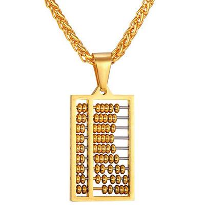 The Chinese Abacus yellow gold plated Necklace