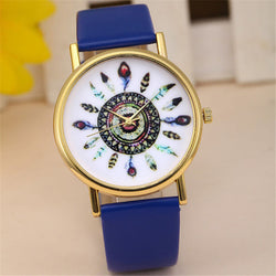 Feather Pattern Wrist Watch, 8 Different Colors!
