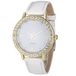 Casual Crystals Round Leather Band Wrist Watch, 8 Different Colors!