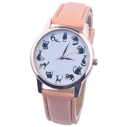 Cute Cat Pattern Leather Band Wrist Watch, 8 Different Colors!