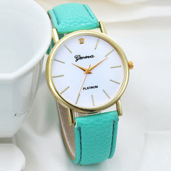 Fashion Platinum Geneva Wrist Watch, 7 Different Colors!