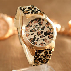 Geneva Leopard Silicone Band Wrist Watch, 2 Different Colors!