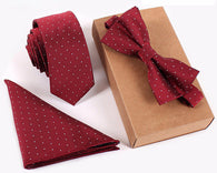 3-Piece Necktie, Pocket Square and Bow Tie Set, 15 Different Colors!
