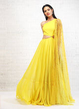 Yellow Cut Out Anarkali + Dupatta