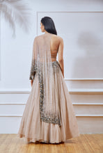 Nude Embellished Net Cape Anarkali