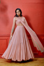 Salmon Anarkali with embellished Dupatta