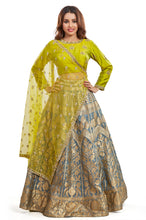 Nidhi Bhansali - Lime Green-Grey Set