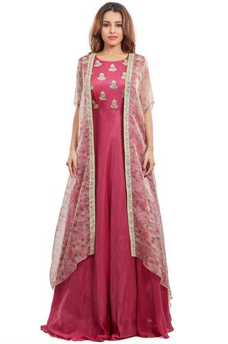 Nidhi Bhansali - Wine Anarkali with Organza Jacket