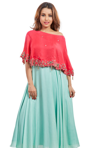 Nidhi Bhansali - Mint Blue Silk Anarkali with Cape