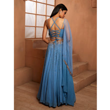 Blue Crop Blouse W/ Embellished Lehenga Set