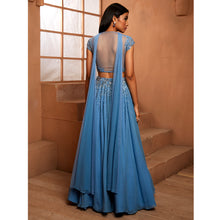 Blue Cap Sleeve Embellished Blouse & Lehenga Set