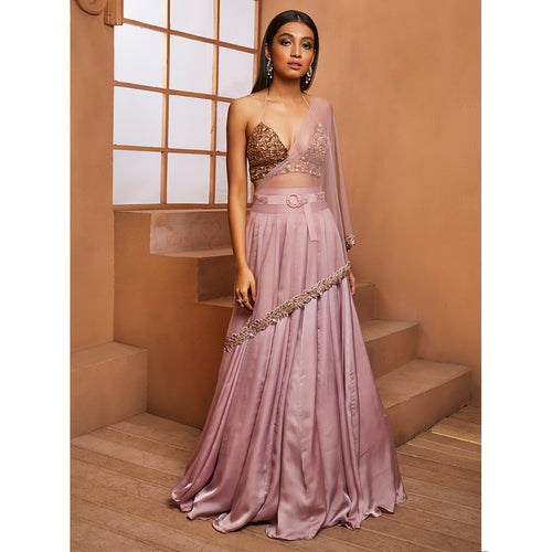 Lilac Sheeny Lehenga W/ Gold Bralet Set