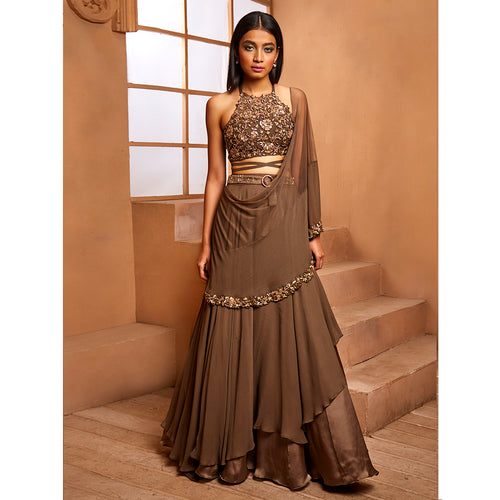 Military Green In-Cut Gold Lehenga Set