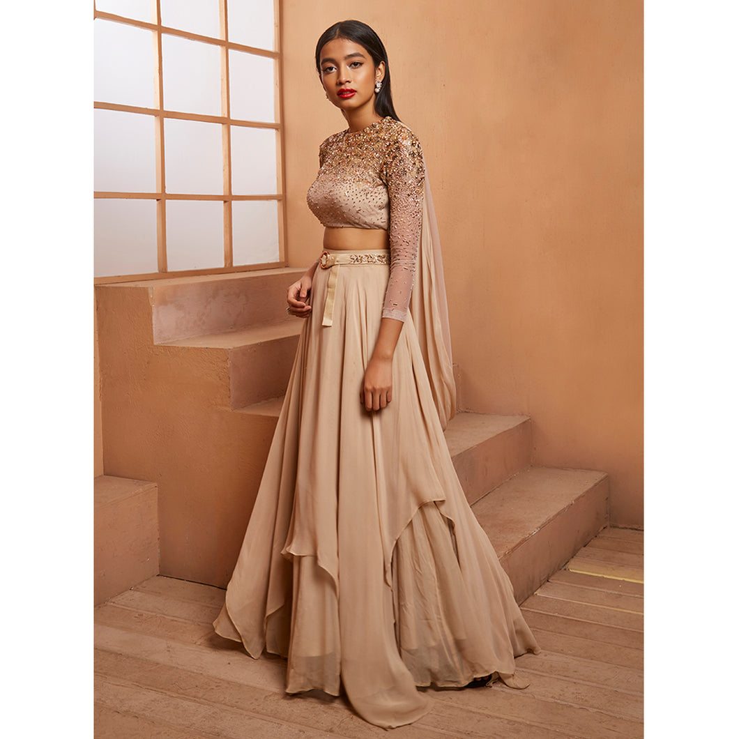 Beige Degrade Lehenga Set