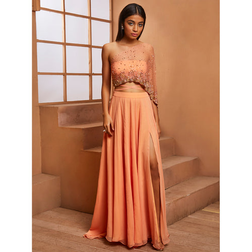 Peach Crop w/ embellished attached drape & slit skirt