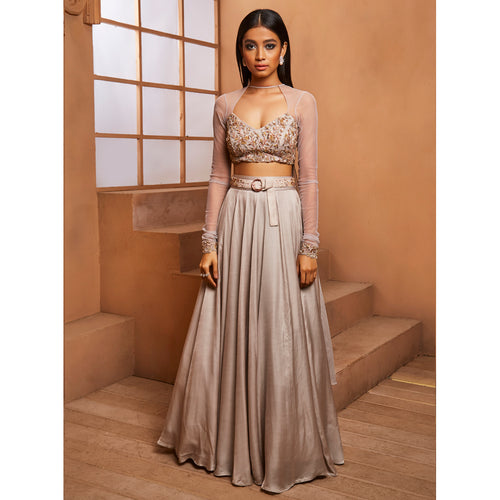 Grey Lehenga w/ belt + Blouse w/ attached dupatta drapes