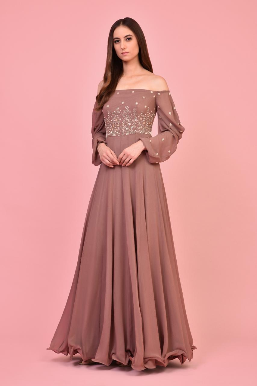 Ash Rose Off Shoulder Gown