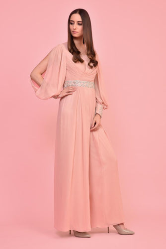 Blush Pink Balloon Sleeves Jumpsuit