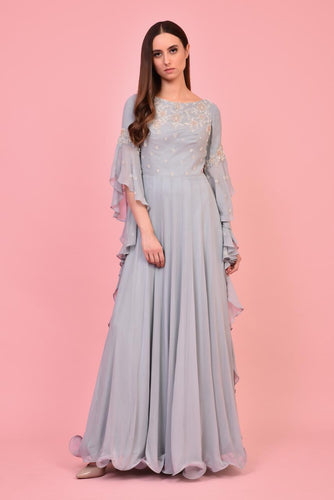 Stone Blue Ruffled Gown