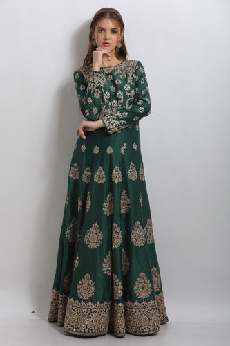 Kaanish Couture - Dark Green Anarkali