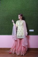 Kaanish Couture - Lime Yellow Top with Pink Gharara