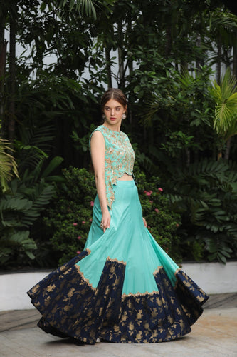 Kaanish Couture - Aqua Lehenga Set