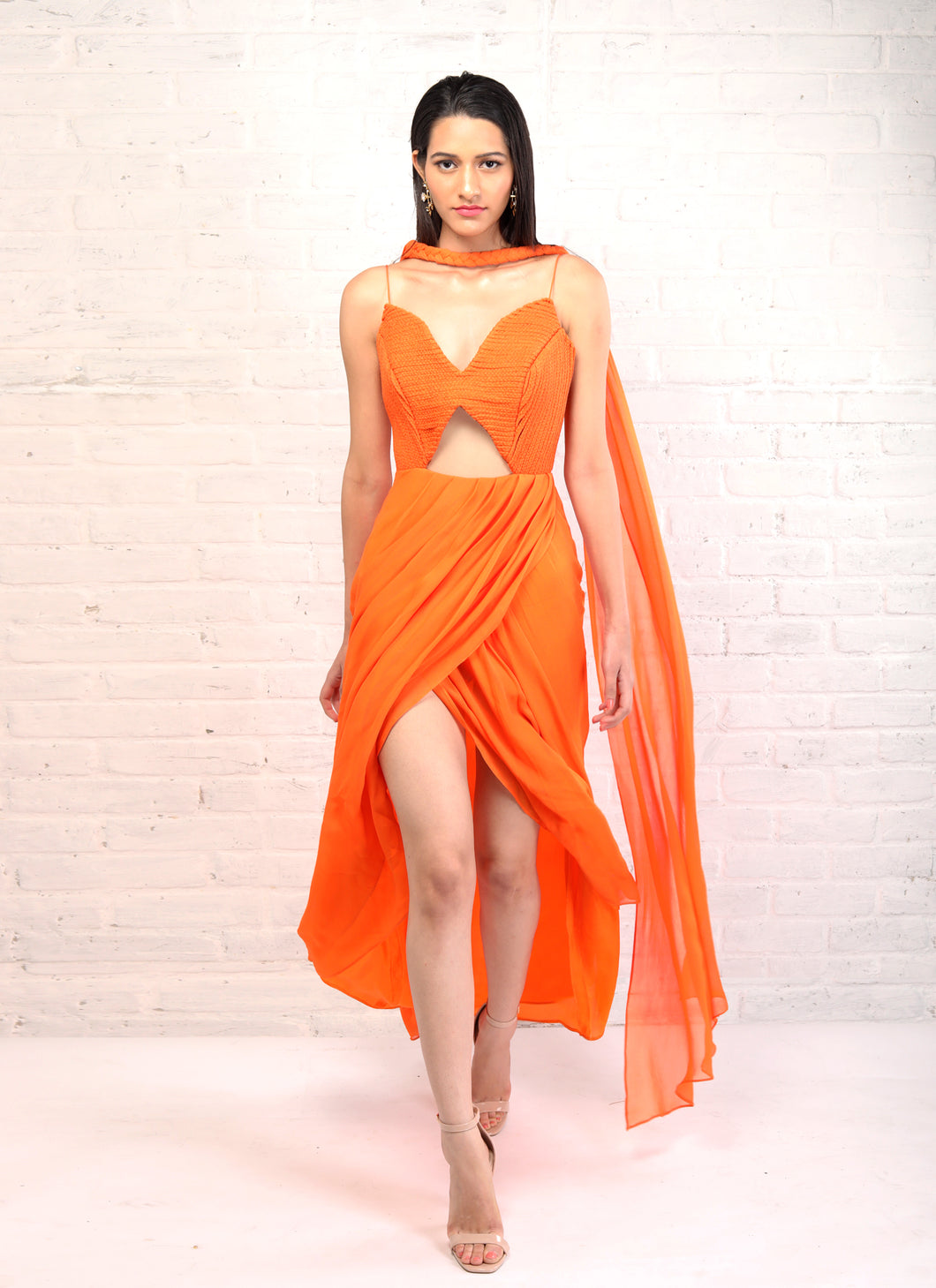 Orange Overlap Kurta + Braided Dupatta