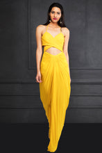 Yellow Draped Long Tube Dress