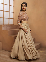 Gold Rosette Crop Blouse & Embellished Lehenga Set
