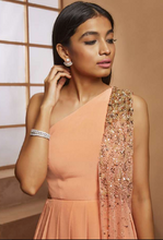 Peach Cut out Top with Churidar