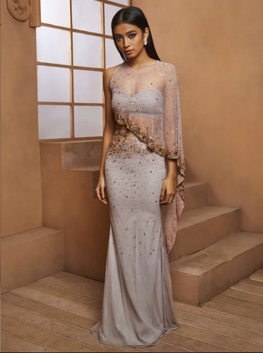 Grey Embellished Drape Style Gown