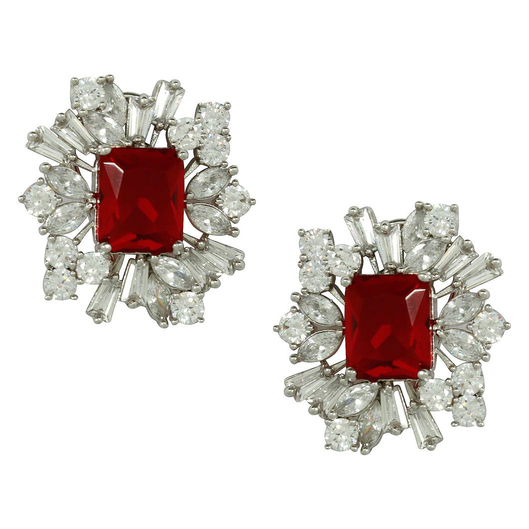 Red Ruby Flower Earrings