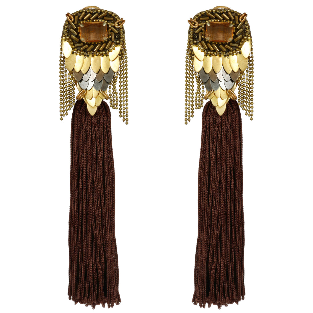 Brown Fish Tassel Shoulder Dusters