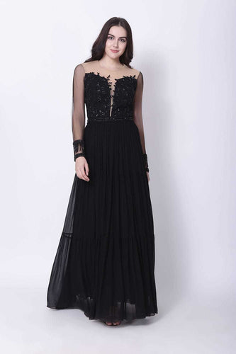 Black Hand Embroidered Gown