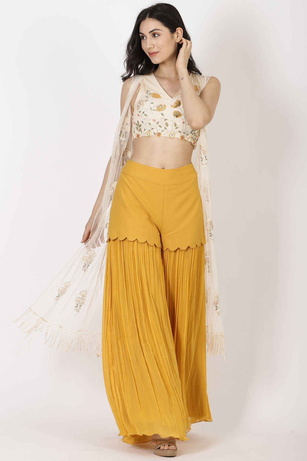 Mustard Embroidered Pant Set