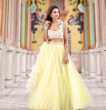 Lemon Yellow Tulle Lehenga
