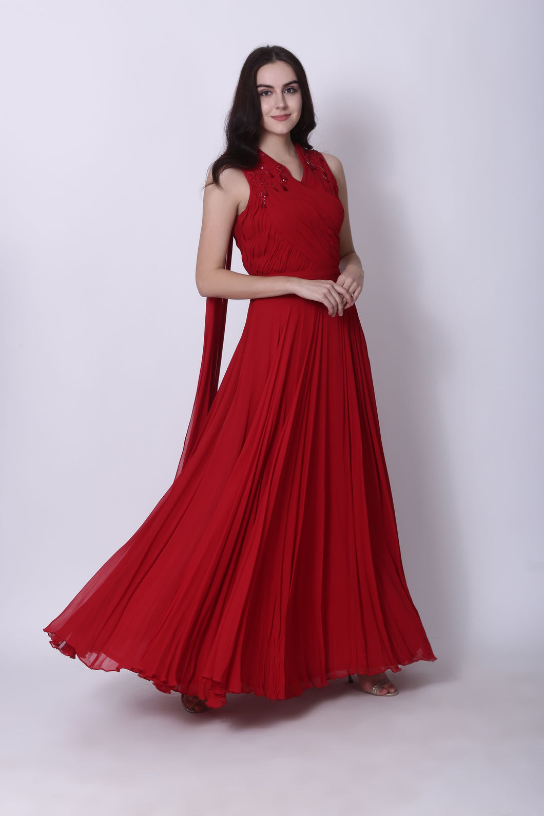 Draped Red Gown