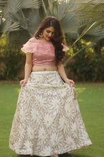 Pink Blouse with White Flower Skirt