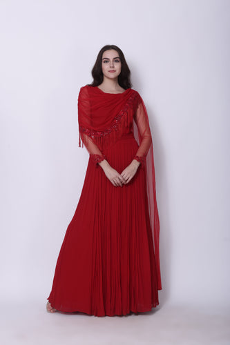 Anarkali with Draped Dupatta