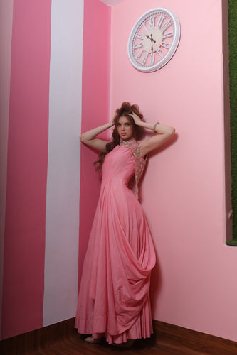Kaanish Couture - Pink Draped Gown with Cape